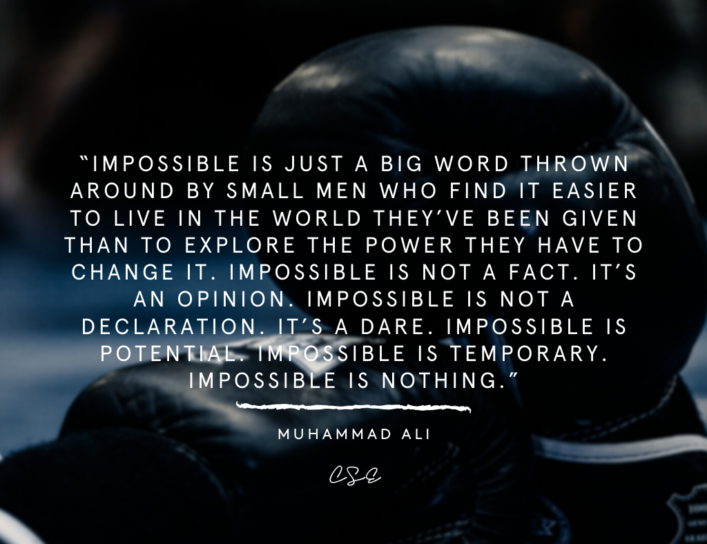 Music, Quotes & Coffee - picture of a quote by Muhammad Ali about impossible is nothing.