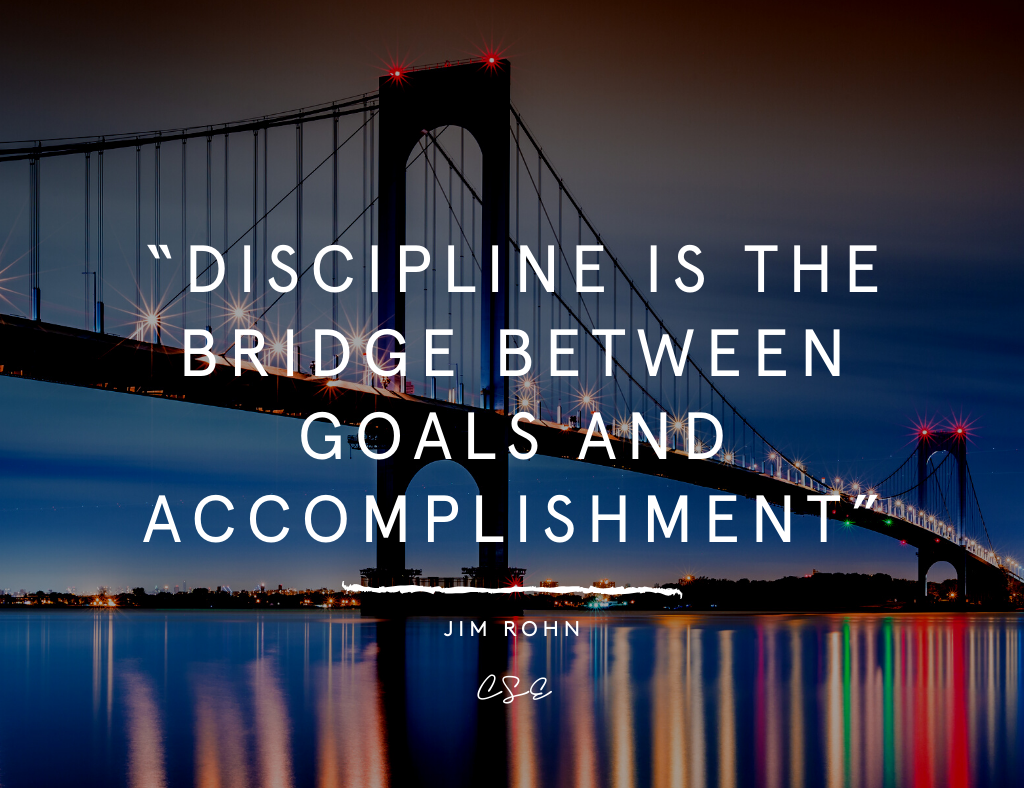 Music, Quotes & Coffee - picture of a quote by Jim Rohn about discipline as the bridge